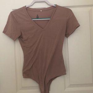 Pink v-neck bodysuit